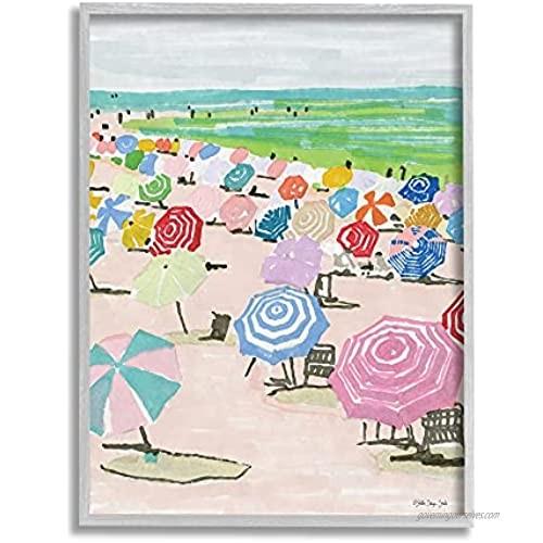 Stupell Industries Pastel Umbrella Filled Beach Watercolor Landscape  Stellar Design Studio Gray Framed Wall Art  24 x 30  Multi-Color