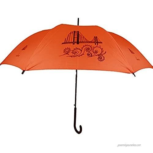 The San Francisco Umbrella Company auto Open Stick Umbrella  Orange/black  One Size
