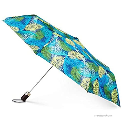 """TOTES Signature Auto-Open Compact Umbrella With Neverwet  Canopy 42"""" Palm Leaves"""