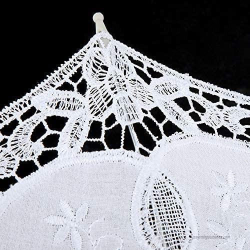 White/Beige Wedding Lace Umbrella Lace Umbrella + Wooden Handle Craft Umbrella Bridal Umbrella Lace Cotton Embroidery Handmade Parasol Umbrella Wedding Supply(White)