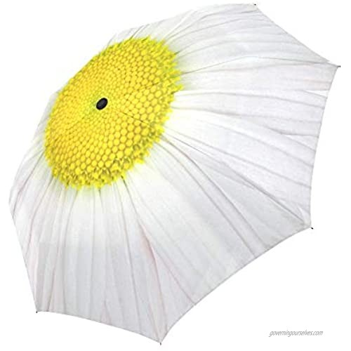InterestPrint Daisy Windproof Auto Open and Close Foldable Umbrella Girly Flower Travel Unbreakable Compact Sun and Rain Umbrella UV Protection White and Yellow