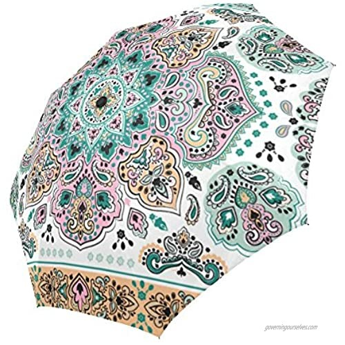 InterestPrint Indian Paisley Flower Floral Medallion Pattern Windproof Compact One Hand Auto Open and Close Folding Umbrella Rain & Outdoor Unbreakable Travel Umbrella