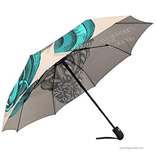 InterestPrint Pug Puppy with Headphones Windproof Automatic Open and Close Folding Umbrella Travel Lightweight Outdoor Umbrella Rain and Sun