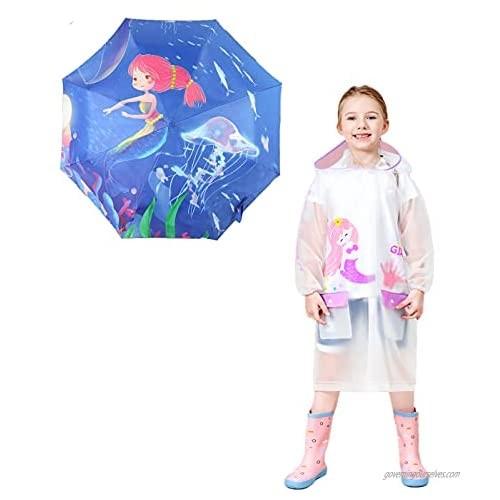 Kids Unicorn and Mermaid Folding Umbrella and Raincoat Set for Boys and Girls Ages 3-10