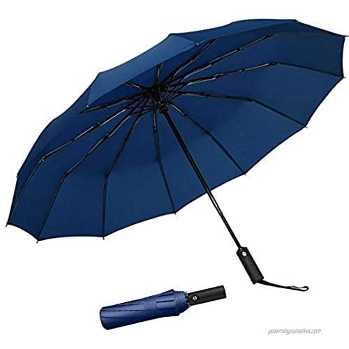Mikos Honwa 12 Ribs Travel Umbrella Windproof Compact Umbrella Auto Open/Close Waterproof Travel Umbrella Portable Umbrellas With Ergonomic Handle (Blue)