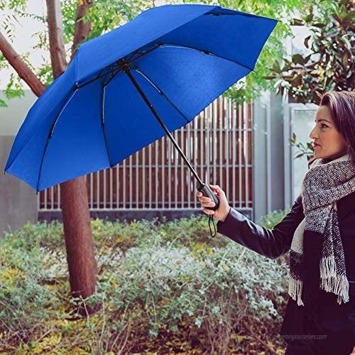 StrombergBrand Reversa (Automatic Reverse Umbrella) Compact Inverted Umbrella For Women and Men Small Folding Rain and Windproof Umbrella - Inside Out Design Outdoor Umbrella Royal Blue Umbrella