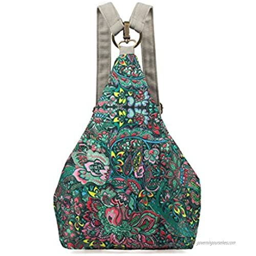 Black Butterfly Original Women's Bohemia National Style Canvas Backpack Shoulder Bag (small) (M)