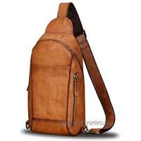 Genuine Leather Sling Bag for Men Crossbody Hiking Backpack Vintage Handmade Chest Shoulder Daypack (Brown)