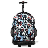 J World New York Sunny Rolling Backpack for Kids and Adults  Graffiti