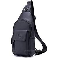 Mens Leather Crossbody Bag Shoulder Sling Bag Casual Daypacks Chest Bags for Travel Hiking Backpacks (Black)