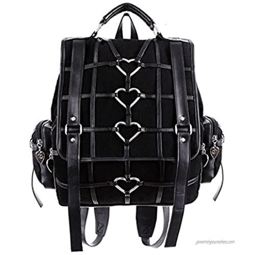 Restyle - HEAVY HEART BAG - Gothic Black Satchel  Backpack