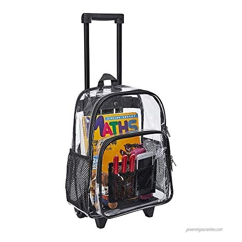 Rolling Clear Backpack  Heavy Duty Cold-Resistant Security Transparent PVC Backpack with Wheels
