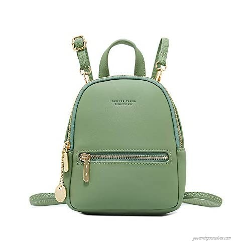 Small Leather Backpack Mini Cute Casual Daypack Fashion Zippered Pockets Crossbody Bags for Women Girl