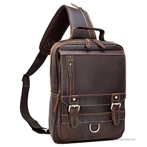 Thick Full Grain Leather Sling Bag Shoulder Backpack Travel Rucksack Casual Crossbody Bag
