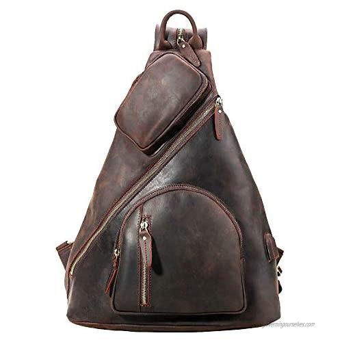 """TIDING Full Grain Leather Sling Shoulder Bag For Men Large Chest Bag Travel Hiking Daypack Fits 12.9"""" Tablet"""