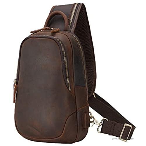TIDING Men's Leather Sling Bag Vintage Chest Shoulder Bags Casual Crossbody Backpack with USB Charging Port