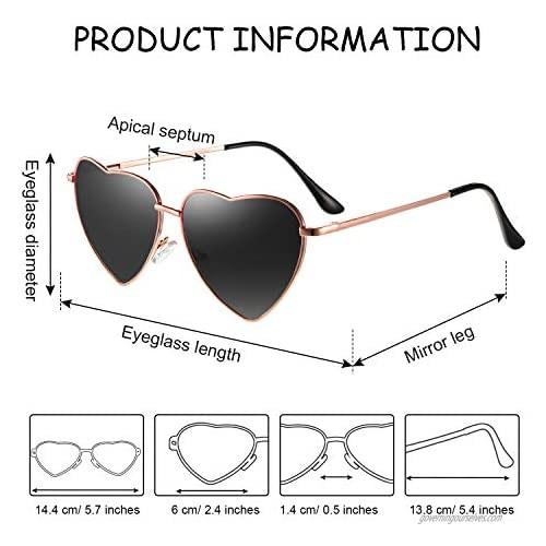 6 Pairs Heart Shaped Sunglasses Vintage Heart Frame Sunglasses Multicolor Metal Retro Glasses for Women