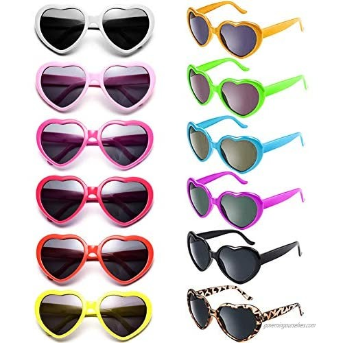 Dozen Pack Heart Shape Sunglasses for Adult and Kids Party Favor Supplies Holiday Accessories Collection  UV400 Protection