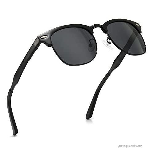 SUNGAIT Classic Half Frame Retro Sunglasses with Polarized Lens