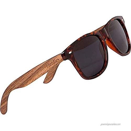 WOODIES Polarized Walnut Wood Sunglasses for Men and Women | Tortoise Polarized Lenses and Real Wooden Frame | 100% UVA/UVB Ray Protection