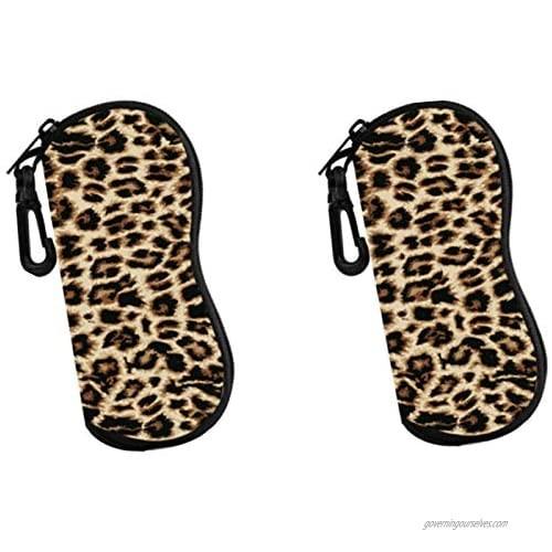 2pcs Sunglasses Soft Case  Ultra Light Portable Neoprene Zipper Glasses Soft Case  Eyeglass Safety Pouch Zipper Box Case with Belt Clip Leopard