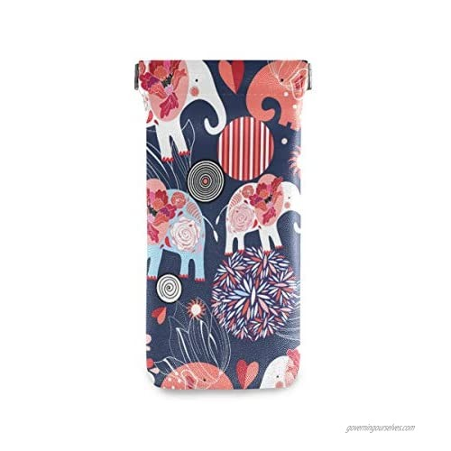 ATONO Beautiful Floral And Elephants Dark Eyeglass Cases Sunglasses Bag Pouch Eyeglasses Goggles Case Holders Portable PU Leather Phone Sleeves for Girls Ladies Womens  As Shown in Illustration  One Size