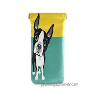 BETTKEN Sunglass Pouch Funny Boston Terrier Animal Dog Portable Eyeglasses Case Bag Squeeze Top Soft PU Leather Eyeglass Goggles Cases Holder for Kids Men Women