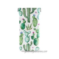 BETTKEN Sunglass Pouch Watercolor Tropical Cactus Flower Portable Eyeglasses Case Bag Squeeze Top Soft PU Leather Eyeglass Goggles Cases Holder for Kids Men Women