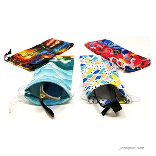 Eyeglass Pouches | Soft Silky Smooth Touch Cases for Storing & Protecting Glasses  Multicolor Unique Decorative Design Sunglasses & Reading Glasses (4 Pack)