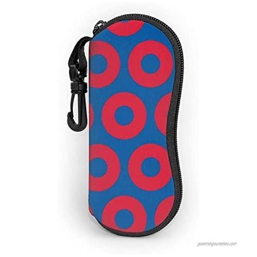 Phish Circles Glasses Case With Carabiner  Ultra Light Portable Neoprene Zipper Sunglasses Soft Case