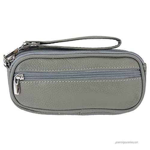 SILVERFEVER Leather Eyeglass Glasses Case with Wristlet Handle Padded