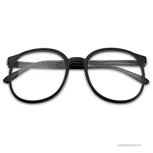 SunglassUP - Over Sized Round Thin Nerdy Fashion Clear Lens Aviator Eyewear Glasses