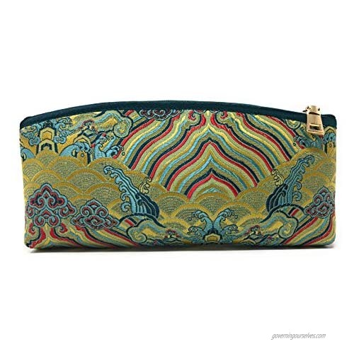 Value Arts Zippered Soft Eyeglass Case Pouch Vaco Chic Chinese Silk 7.25 Inches Long
