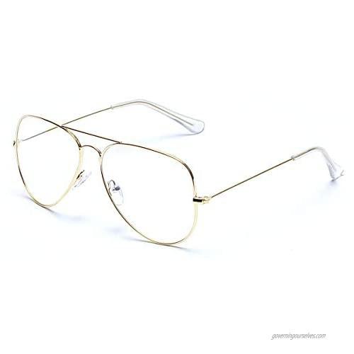Aviator Clear Lens Glasses Non-prescription Eyeglasses Metal Frame for Women Men