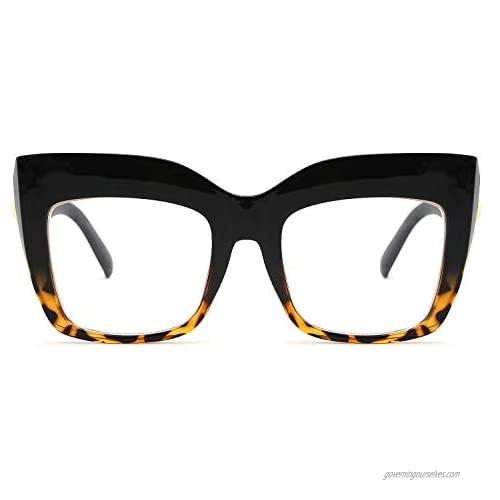 FEISEDY Women's Square Oversized Blue Light Filtering Reading Glasses B2627