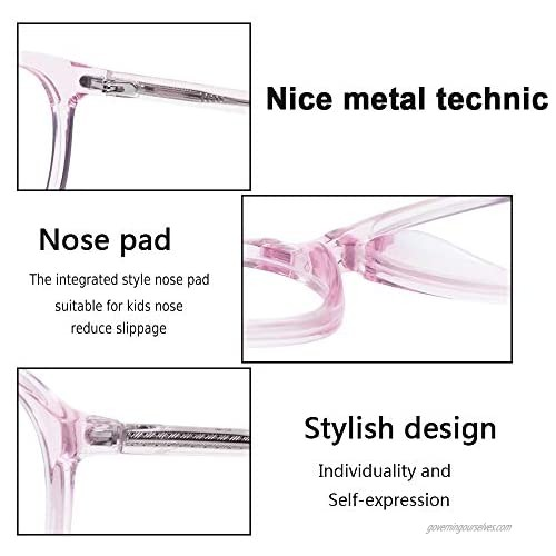 Kids Glasses Eyewear Frame for Teens Children Boys Girls with Oval Clear Lens Tortoise Crystal Pink(Age 3-8)