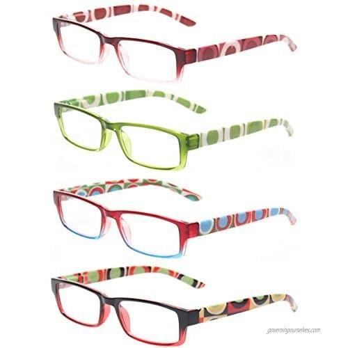 Reading Glasses 4 Pairs Quality Spring Hinge Stylish Designed Women Glasses for Reading