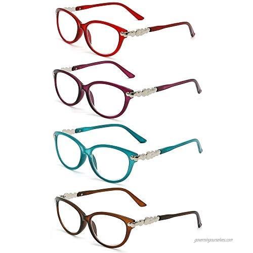 Reading Glasses Women - 4 Pack Stylish Readers - Spring Hinge Designer Ladies Fashion Reading Glasses - Bright Colors