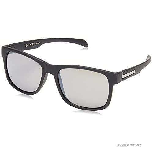 Foster Grant Men's Ramble Rectangular Sunglasses  Black/Smoke  158 mm