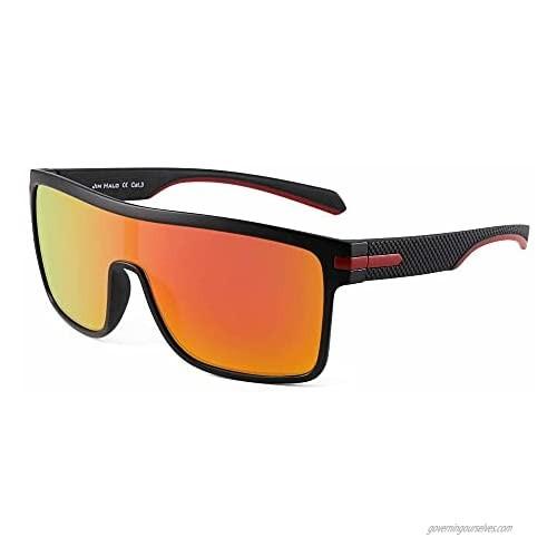 JIM HALO Men's Polarized Shield Sunglasses Oversized Flat Top Square Glasses