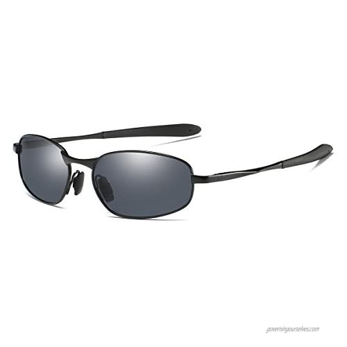 Polarized Sunglasses Small Size Rectangular Metal Frame for Men and Women UV400 Protection