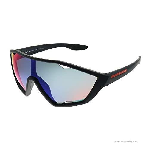 Prada Active PS 10US DG09Q1 Black Rubber Plastic Sport Sunglasses Blue Mirror Red Lens
