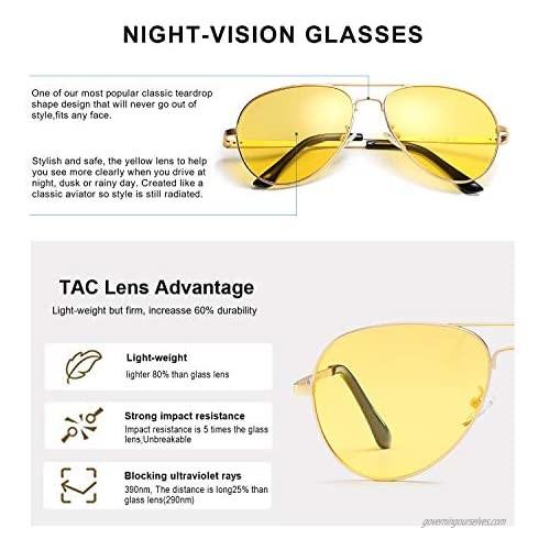 SODQW Aviator Night-Vision Driving Anti-Glare Glasses HD Sight Polarized Yellow Night Guide Rainy Safe Glasses