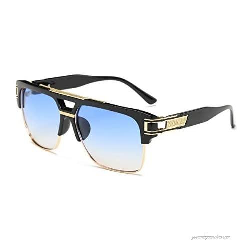 Square Sunglasses for Men Classic Oversized Sun Glasses Retro Semi Rimless Gold Alloy Frame UV400