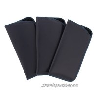 3 Pack Classic Faux Leather Eyeglass Slip Cases In Gray For Men And Women