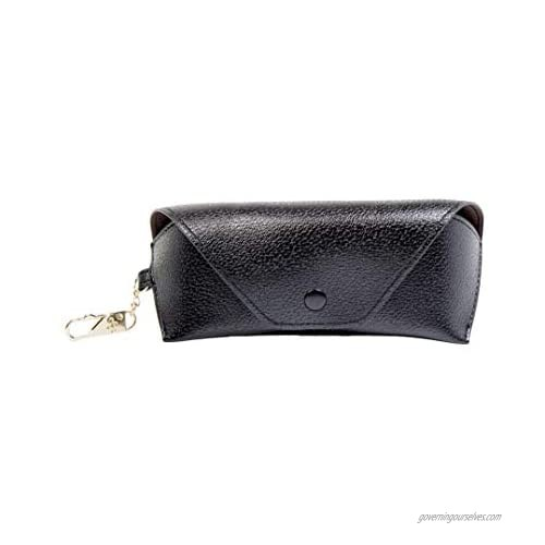 SIMPLILY CO. Eyeglass and Sunglass Soft Leatherette Case with Clip (Black)