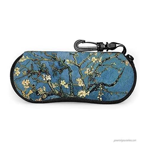 Srupiomg Vincent Van Gogh Blossoming Almond Tree Ultra Light Portable Neoprene Zipper Sunglasses Eyeglass Soft Case with Belt Clip Glasses Case with Carabiner