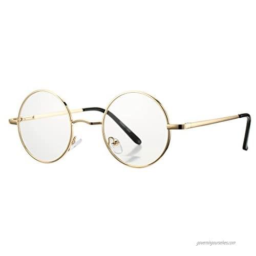 COASION Vintage Round Clear Glasses Small Metal Frame Non Prescription Lens Eyeglasses