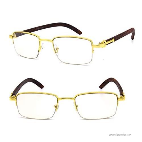 For Men's Gold Color Wood Effect Metal Frames Vintage Style Retro Eye Clear Lens Glasses