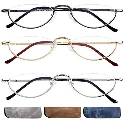 Half Frame Reading Glasses 3 Pack Semi-Rimless Half Moon Readers For Men - Women